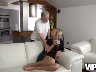 VIP4K. Brilliant blonde gets satisfied with old husbands phallus