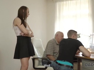 DADDY4K. Winsome redhead creampied after sex with boyfriends old dad