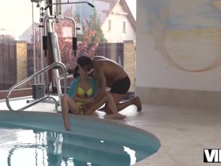 VIP4K. Black on white sex of teen girl Madelina Dee and coach in her big