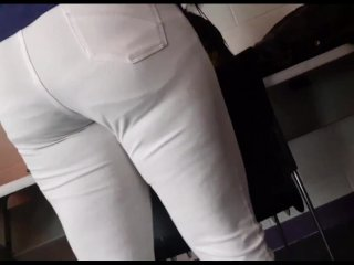 19 yr old big ass candid in white Jean's pt.3 (consented by model/friend)