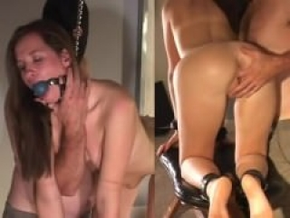 Brunette slave tied, gagged, and anal trained