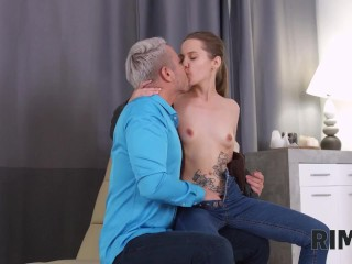 RIM4K. Amazing rimming action performed by lustful delivery babe