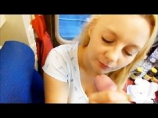 Deep Blowjob in the train