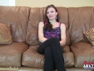 Amateur girl Jamie gets slutty on a casting couch