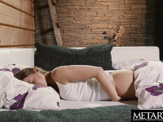 Stunning Sybil starts her day by stroking her tits and wet pussy