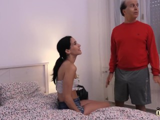 Grandpa Plays With Beautiful Teen And Cums On Her after he fucks her vagina hardcore