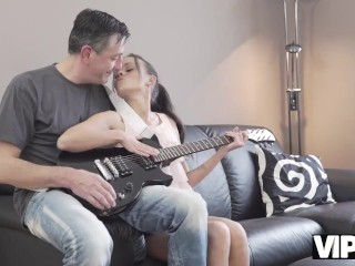 VIP4K. Coquettish miss seduces old rock'n'roll dude for hard sex