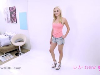 Pretty blonde Teen gets facial & fucked at POV casting