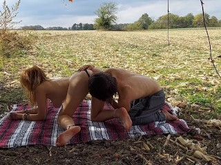 beautiful redhead teen gets fucked in a field