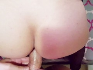 Teen amateur couple fucking on exercise ball and cumshots on her tits