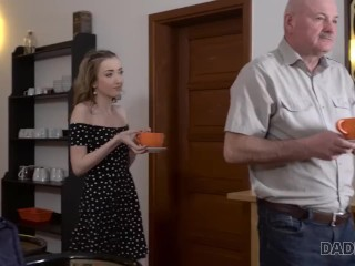 DADDY4K. Cutie permits BFs old daddy to penetrate her snatch on sofa