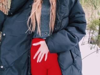 Blowjob outdoors in winter, pussy cute teen fucked in the forest - Red Fox