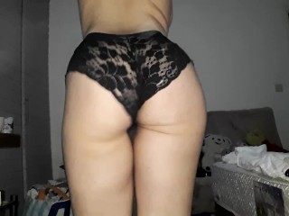 Trying panties and getting horny