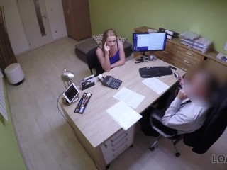 LOAN4K. Young naive chick gets fucked on the desk in the loan office