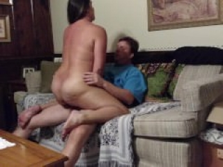 Horny big-assed milf fucking on Mom's couch while housesitting, pt. 2