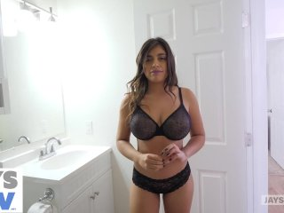 JAY'S POV - LATIN TEEN WITH HUGE NATURAL TITS GETS CREAMPIED