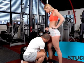 STUCK4K Stunner is trapped which is why the kinky stud approached her