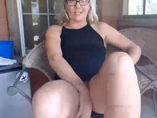 Mature blonde will strip and squirt all over