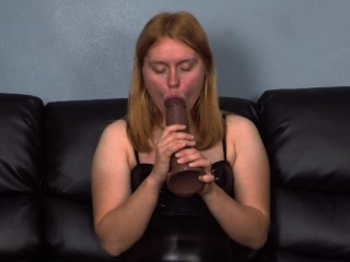 Redhead Teen fucks pussy hard with giant black dildo cock and blows JOI RIDE