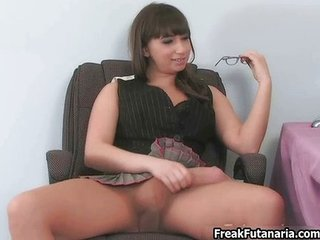 Babe in pantyhose jerking her huge cock
