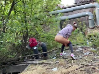 A refugee-girl was caught and fucked for illegal outdoor pissing! (Part 1)