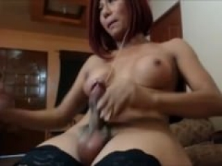 Shemale Makes her Rock Hard Cock Cum