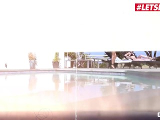 Scam Angels - Jewelz Blu & Emily Willis Big Booty German Babe & Her Girlfriend Fuck By The Poolside