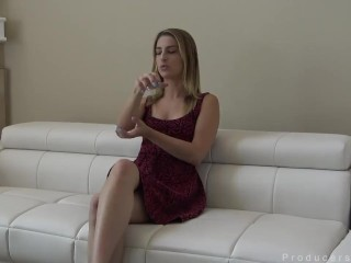 Shoving cock deep into her throat until he blows