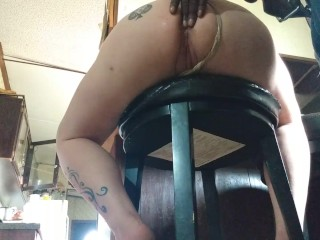 A barstool tail underneath view nasty anal dripping creampie