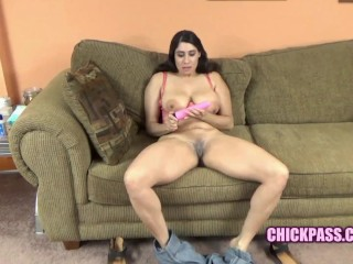 ChickPass - Busty mom Nicole Paris uses a toy on her juicy twat