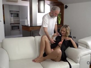 OLD4K. Tender sex is the way blonde and old husband begin their day