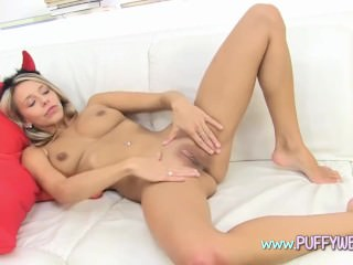 Devil Teen Shows Up Her Pussy