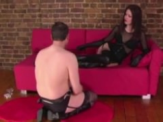 Dominas gets foot worshiped by her slave as she ordered