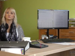 LOAN4K. Nice young lady gives a head and spreads legs in loan office