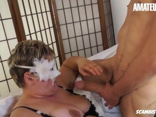 ScambistiMaturi - Chubby Italian Cougar Adriana Fucked Hard By a Young Stud - AmateurEuro