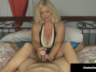 Jumping Jerky ! Busty Cougar Charlee Chase Jacks Your Lucky Dick Off!