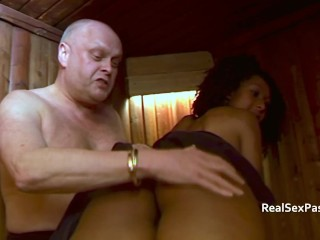White guy spanking a black gal over the knee