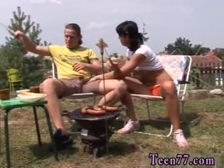 Cum on my big tits Anal penetrated at bbq