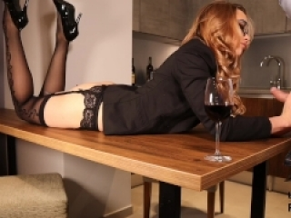 Sexy Secretary Fucked On The Table. Blowjob and Sex in Stockings & Glasses.