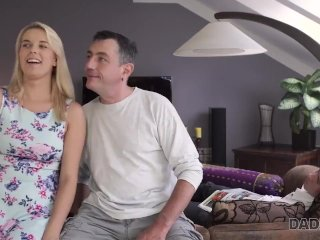 DADDY4K. Amazing old and young action by bored blonde and senior