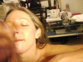 Sexy Blonde Lets BBC Cover Her Face With Cum