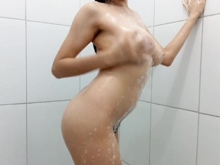 Hairy Teen With Big Boobs Showering and Having Orgasm