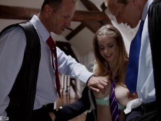 Naughty Schoolgirl Stella Cox Proves She's Teacher's Pet In Hot Dp Threesome