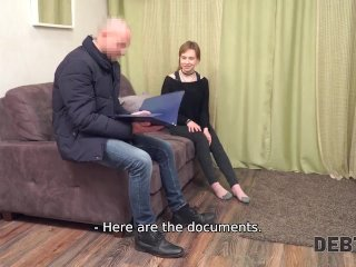 DEBT4k. Red-haired miss allows collector to screw her to forget debts