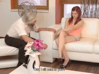 DADDY4K. Cutie takes part in crazy threesome with lover and his father
