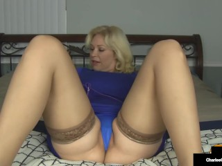 Big bOObed Mom Charlee Chase Purple Penetrates Her Magic Mommy Muff & Cums!