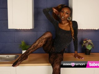 UK ebony babe Laylah Riat gets naked at Babestation