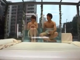 Asian Teen Young Couple Public Sex Game Pool Glass Room