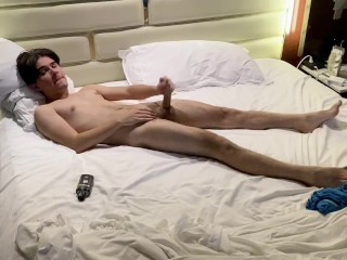 Gorgeous Twink Shows off Huge Dick and Explodes with Cum