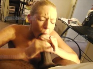 Blonde Gets A Cum Facial After She Struggles to Suck Huge BBC